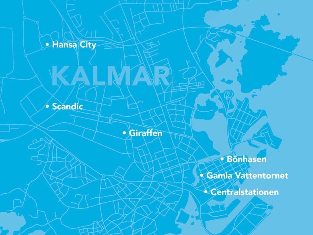 Karta med Kalmar Energis elmackar